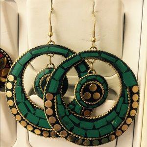Handmade green turquoise brass round earrings